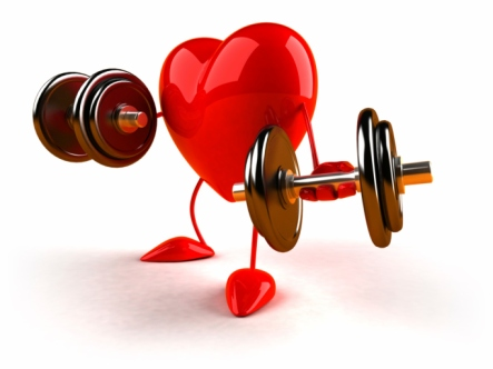 Heart with dumbbells